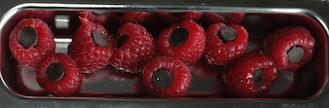 Cholate filled raspberries