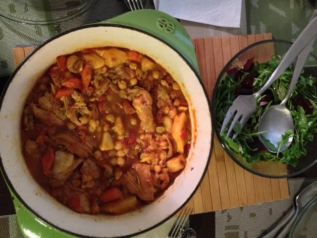 Moroccan chicken stew with chickpeas and vegetables