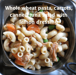 Whole wheat pasta, carrots, green peas and canned tuna