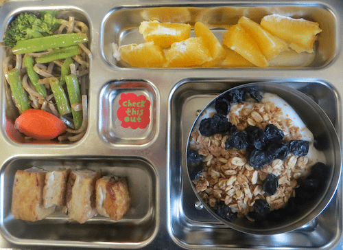Calcium rich lunchbox: yogurt with granola and dried blueberries, stir fried tofu, green beans, carrots and buckwheat noodles, oranges