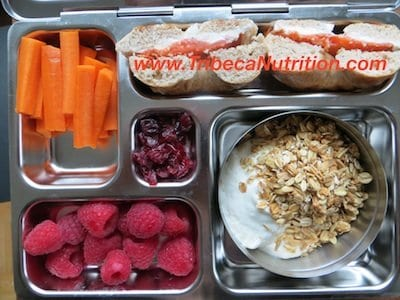Calcium rich lunchbox: plain Greek yogurt with granola, smoked salmon and cream cheese bagel, carrots, raspberries and dried cranberries