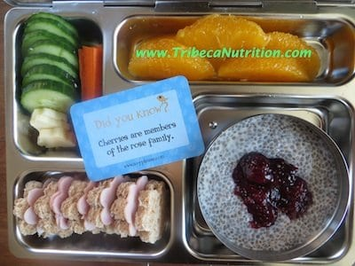Calcium rich lunchbox: chia seed pudding with stewed fruit, ww bread with ham, cucumbers, cheese and oranges
