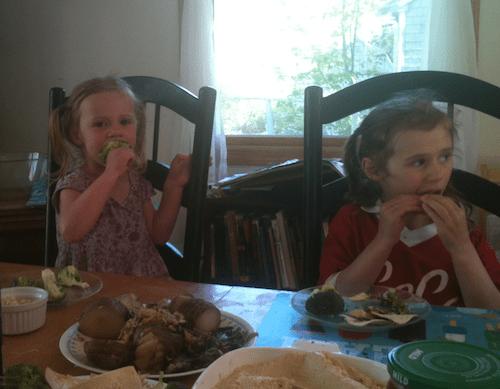 Girls eating snack