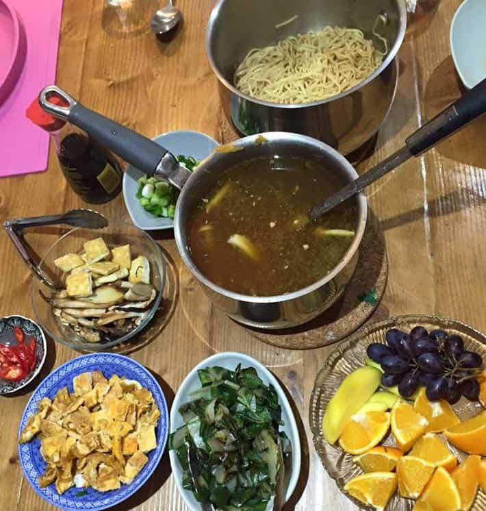 Ramen dinner set up
