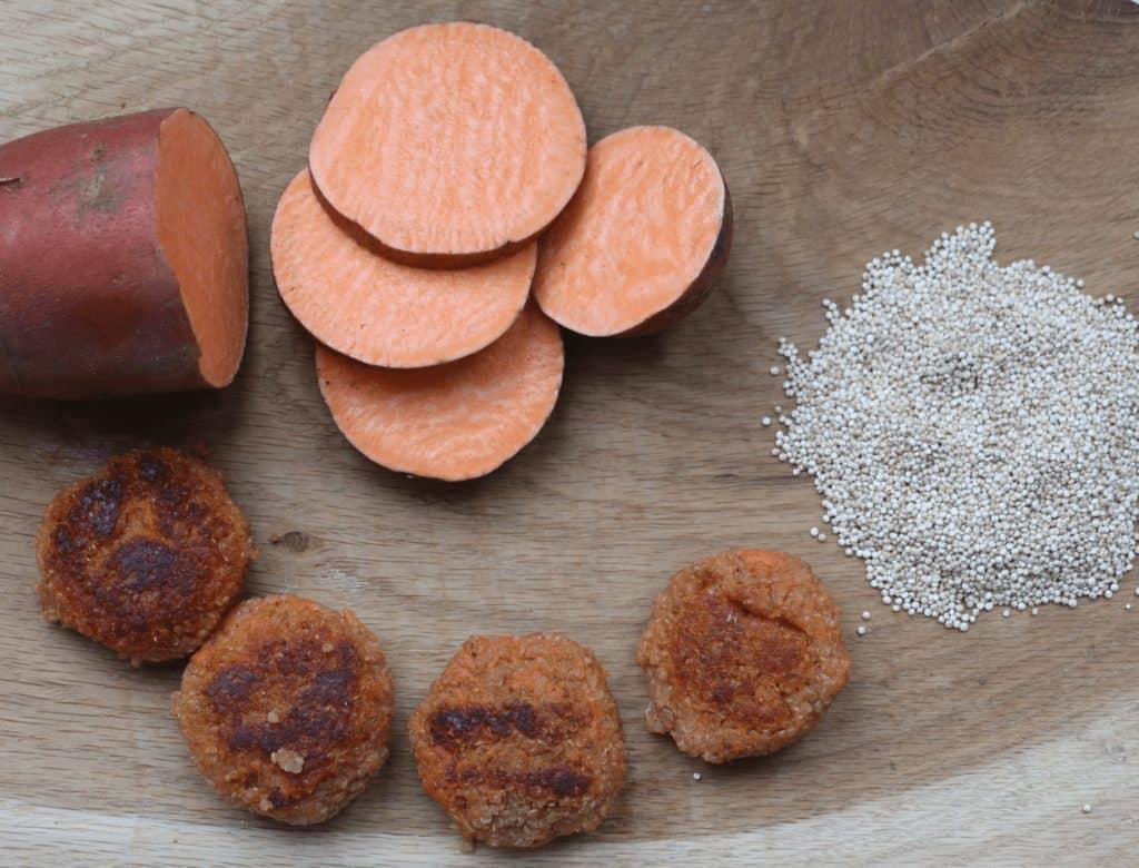 Sweet potato and quinoa ingredients