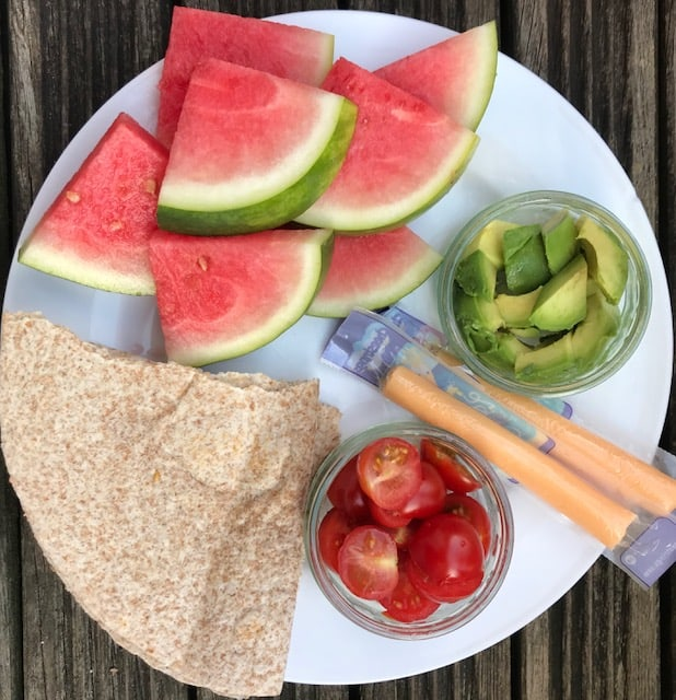 Toddler snack platter with water melon