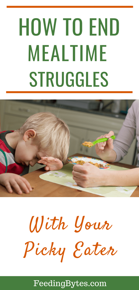 How to end mealtime struggles with your picky eater - why you should not stress over the details during your child's mealtime, and what you can do about it. From Feeding Bytes.