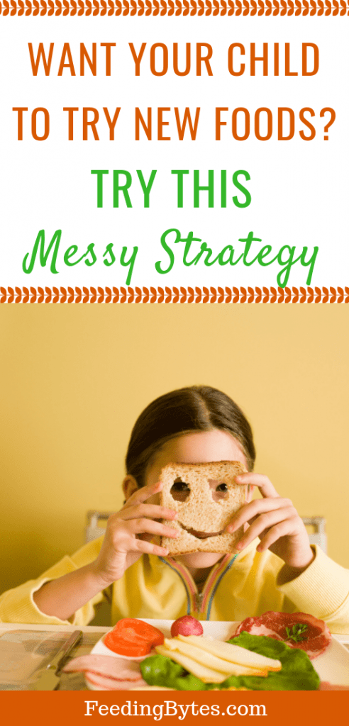 Want your child to try new foods? Try this messy strategy - girl playing with bread