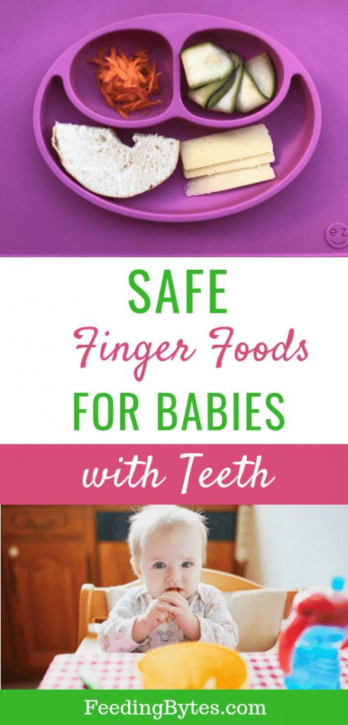 Safe finger foods for babies with teeth - baby eating