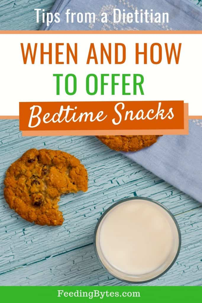 when and how to offer bedtime snacks - picture of milk and crackers on a napkin
