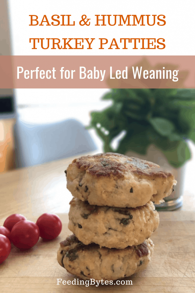 Basil and Hummus Turkey Patties for Baby led weaning