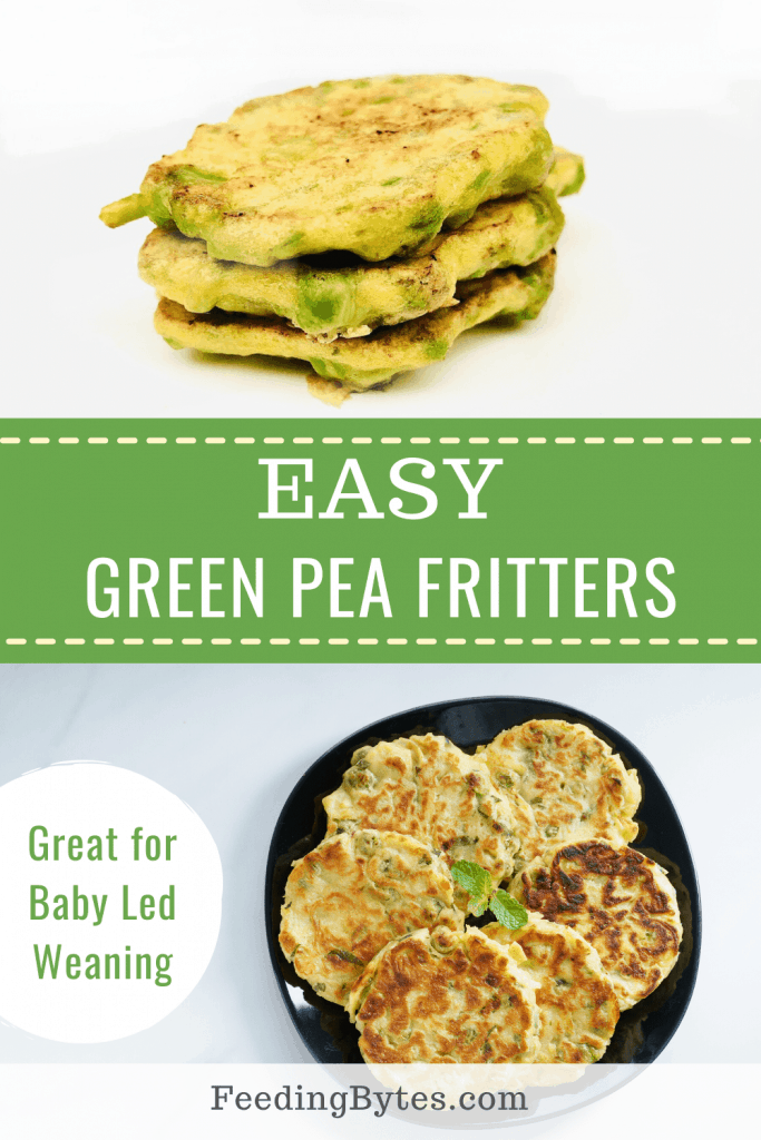 Easy green pea fritters baby finger food recipe for baby led weaning